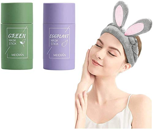 PACK of 2 Green Tea Purifying Clay Stick Mask Face Mask Stick Deep Cleansing Oil Control Anti-Acne Mask Fine Solid Mask Green Tea Aubergine Blackhead Remover Face Mask Pores Shrink (B)
