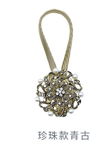 HNLHLY Europese retro pruim diamant gordijn magneet gesp gordijn touw riem eenvoudige punch-vrij gordijn touwtje veer paar