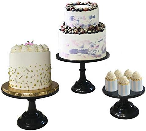 3 Pieces Cake Stand Set Black Metal Cupcake Holder Dessert Display Plate Decor Serving Platter product image