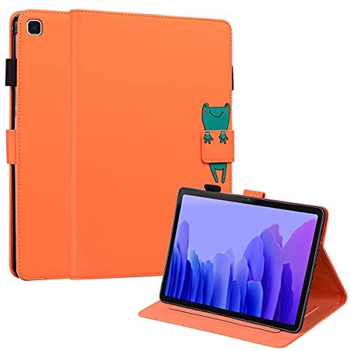 C/N DodoBuy Hülle für Samsung Galaxy Tab A7, Cartoon Tiere Muster Magnetische Flip Smart Cover PU Leder Schutzhülle Tasche Brieftasche Wallet Hülle Ständer mit Kartenfächer - Orange Frosch