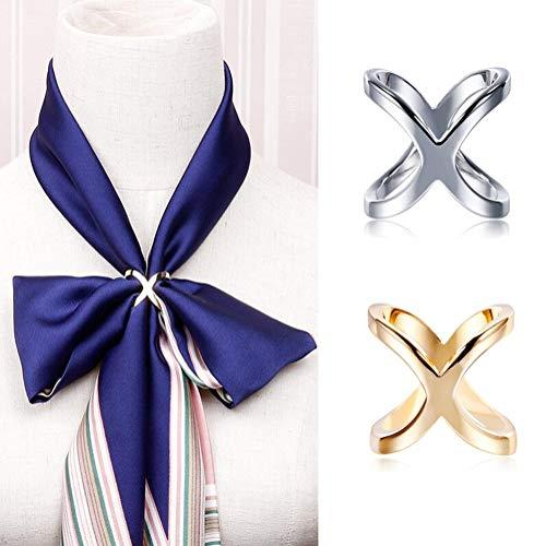 SYBL 2PCS Women Lady Girls Simple Fashion X Shape Scarves Buckle Scarf Clip Scarf Ring Wrap Clamp Silk Scarf Clasp Holder for Clothing Neckerchief Shawl (Golden + Silver)