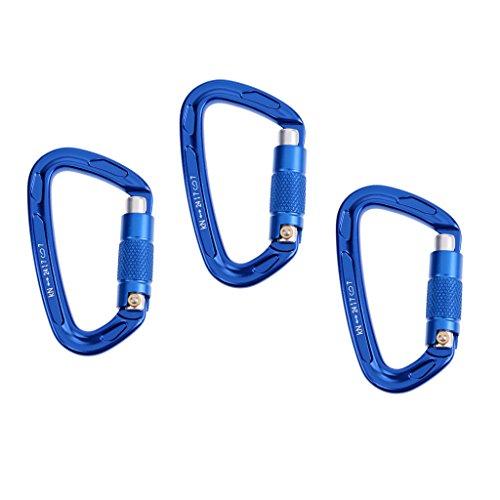 MagiDeal 3pcs Mousqueton à Verrouillage Automatique Porte-clé Forme D en Aluminium pour Escalade Randonnée - Bleu, 24KN