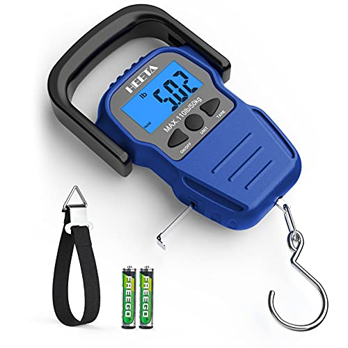 HEETA Fish Scale with Backlit LCD Display, Digital Portable Hanging Scale Luggage Scale with Measuring Tape for Home and Outdoor, 2 AAA Batteries Included, Blue