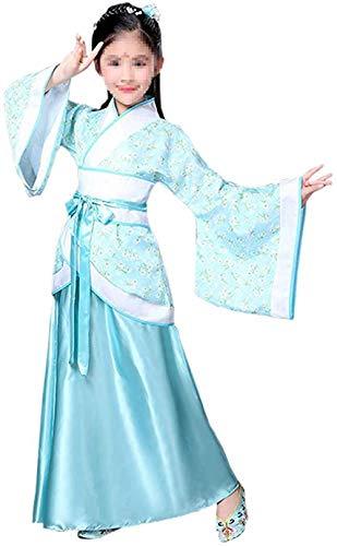OKZH Hanfu Chino Mujer Vestido Tradicional Chino Antiguo De Hanfu Para Niña, Vestido Elegante, Vestido De Fiesta De Navidad, Azul 150: Altura Recomendada: 145 150 Cm Azul