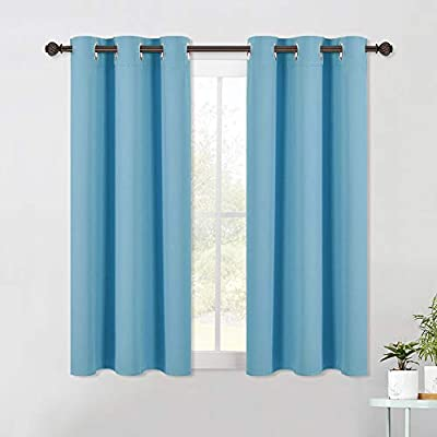 NICETOWN Blackout Draperies Curtains for Kids Room, Window Treatment Thermal Insulated Solid Grommet Blackout Drape Panels for Bedroom (Set of 2 Panels, 42 by 54 Inch, Teal Blue)