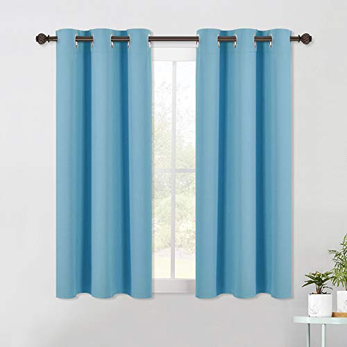 NICETOWN Blackout Draperies Curtains for Kids Room, Window Treatment Thermal Insulated Solid Grommet Blackout Drape Panels for Bedroom (Set of 2 Panels,42 by 54 Inch,Turquoise)