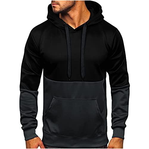 Sudadera básica de manga larga para hombre, deportiva, extragrande, ajustada, para otoño e invierno, Color gris oscuro., XXXL