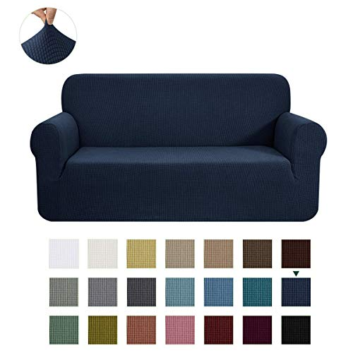 CHUN YI Jacquard Sofa Covers 1-Piece Polyester Spandex Fabric Slipcovers(Loveseat, Dark Blue)