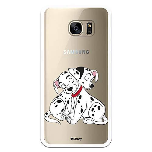 Funda para Samsung Galaxy S7 Edge Oficial de 101 Dálmatas Cachorros Abrazos para Proteger tu móvil. Carcasa para Samsung de Silicona Flexible con Licencia Oficial de Disney.