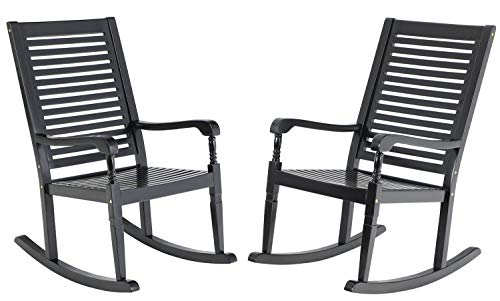 Sophia & William Outdoor Acacia Wood Rocking Chairs Set of 2 Black, Wooden Nantucket Rocking Chair for Porch, Patio, Garden, Lawn, Balcony, Backyard and Indoor, 2 Pack