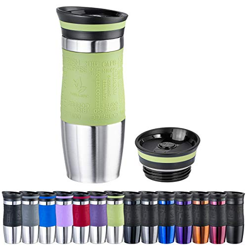 WELLGRO Thermobecher 400 ml + 1 Extradeckel - Edelstahl rostfrei - Silikon Soft-Touch Griffstück - BPA-frei - Isolierbecher doppelwandig - Travel Mug - Kaffeebecher to go, Farbe:Grün