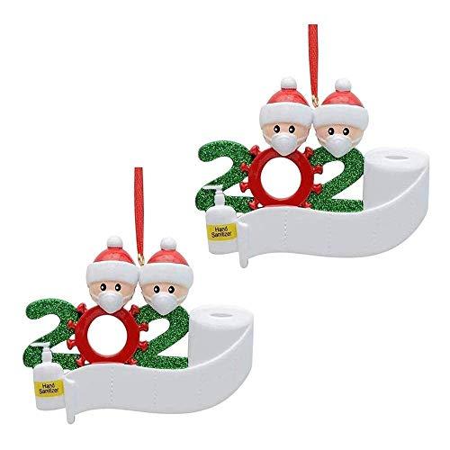 Wondsea - Kit de cuarentena Personalizado de 2 Piezas, Nombre de la Familia 2020, Regalo de Adorno navideño con máscara, Papel higiénico, Dos Personas