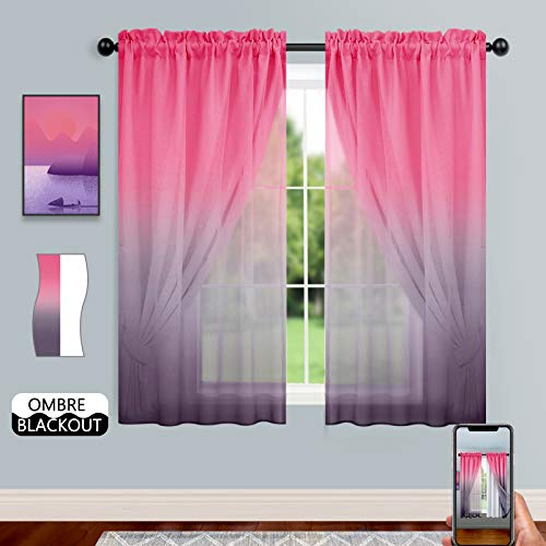Blackout Curtains with Ombre Sheer Overlay for Bedroom Girls Room Double-Layered Rod Pocket Elegant Mix & Match Thermal Insulated Drapes for Living Room (Set of 2, 52x63 inch, Pink & Lilac)