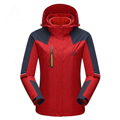 emansmoer Femme 3 en 1 Veste de Camping Randonnée Escalade Coupe-Vent Imperméable Respirant Outdoor Sport Manteau (XXX-Large, Rouge)