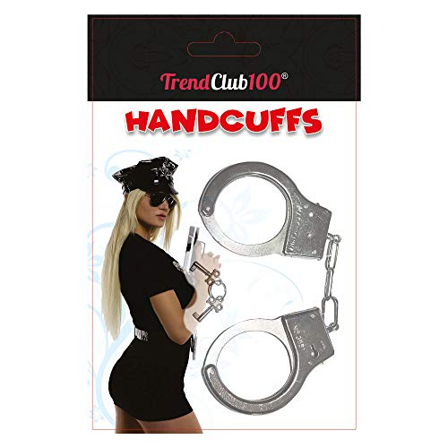 TrendClub100® Esposas de Metal para Disfraz de policía con Dos Llaves (Ampolla)