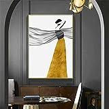 qianyuhe Arte de Pared Lienzo Abstracto Dorado Vestido Largo Mujer impresión Cartel Pintura decoración Imagen nórdica Moderna decoración para Sala de Estar 60X90CM (24'x35)