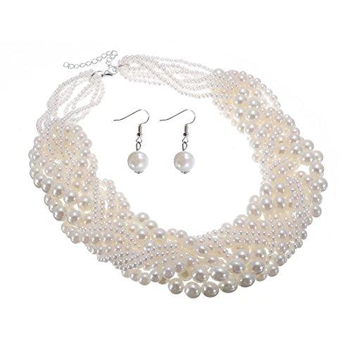 Jerollin - Collana da donna, parure con girocollo e orecchini con perle grandi e piccole, multicolore e rame, colore: bianco, cod. SJ217770