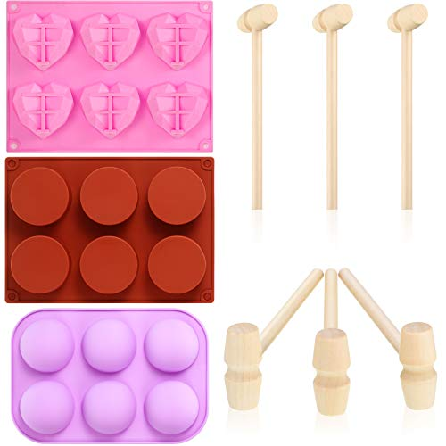 Diamond Heart Chocolate Mold Semi Sphere Silicone Mold Round Cylinder Candy Mold with 6 pieces Mini Wooden Hammers for Making Hot Chocolate Bomb, Cake, Jelly, Dome Mousse, Candy, Muffin