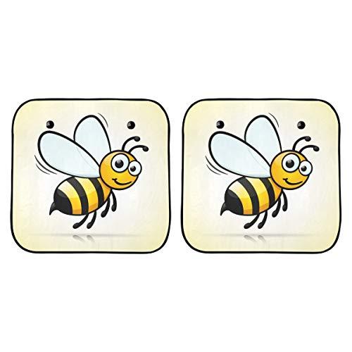 Klappbarer Stuhl mit Sonnenschirm Niedliche kleine Biene fliegendes Auto Sonnenschutzfenster Klappbares 2-teiliges für die meisten Limousinen Geländewagen Schützen Sie das Fahrzeug vor UV-Sonne und H