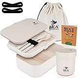 BEA Freedom Bird® Premium Lunchbox Set | Auslaufsichere Bento Box mit Besteck, Trennwand & Becher | Nachhaltige Brotdose Bambus für Kinder & Erwachsene | GRATIS Tasche, Rezeptheft & Ersatzteile