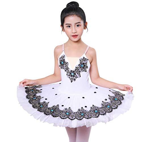Ballett für Kinder Tutu Sequin White Swan Tanz-Kostüm-Kleid-Mädchen-Ballett-Leistung Spiel Kleid,130cm