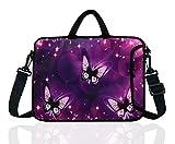 14-Inch Neoprene Laptop Shoulder Messenger Bag Case Sleeve for 13 13.3 14 14.1' Inch Notebook/Chromebook (Purple Butterfly)