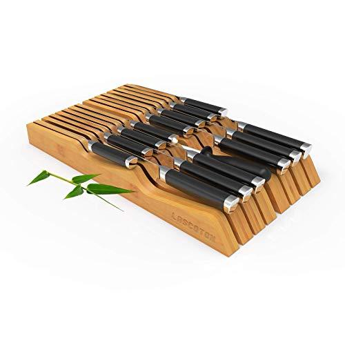 LASCOTON Messerblock in Schublade - Bambus Messerblock, passend für 14 Messer und 1 Wetzstahl Messer-Organizer, Größe: 40 x 21 x 5 cm (ohne Messer)