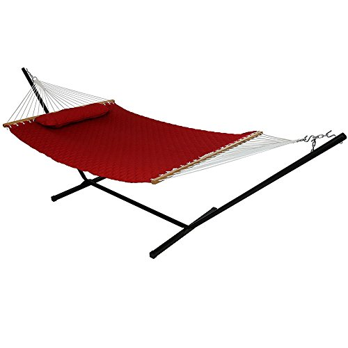 Sunnydaze 2-Person Freestanding Double Hammock with 12-Foot Stand and Spreader Bars, Quilted Designs Fabric, 400-Pound Capacity, Red