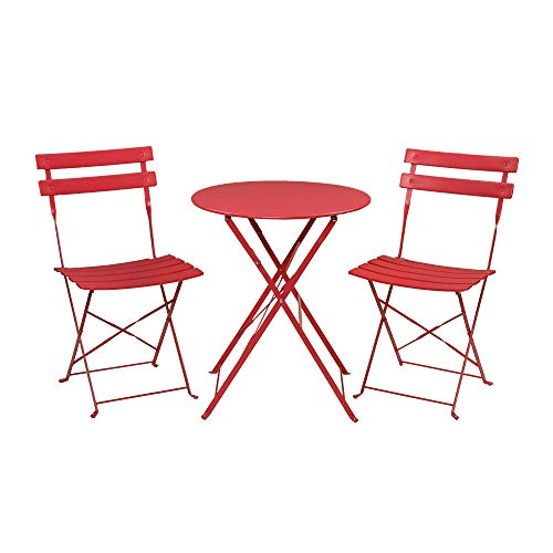 Moskado Patio Premium Steel Patio Bistro Set, Folding Outdoor Patio Furniture Sets, 3 Piece Patio Set of Foldable Patio Table and Chairs, Red