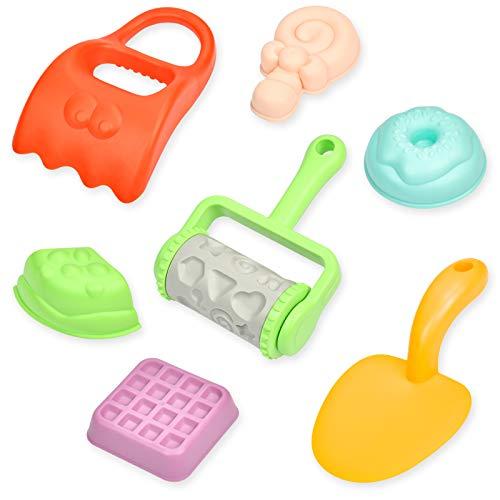 KATELUO Kinder Strand Sandspielzeug Set, 7 Stück Sandkasten Spielzeug mit Sandschaufel, Sandformen und andere Werkzeuge, Strandspielzeug ummer Outdoor-Spielzeug für Kinder ab 1 Jahre - Zufällige Farbe