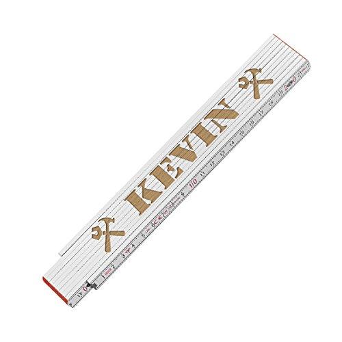 polar-effekt Zollstock Maßstab 2 Meter mit Gravur - personalisierter Meterstab mit Name - Gliedermaßstab für Heimwerker, Geschenkidee für Männer - Motiv Handwerker