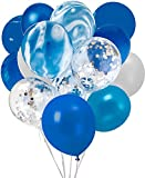 Confetti Latex Balloons, 20Pcs Blue and Sliver Biodegradable Party Balloon for Wedding Decoration