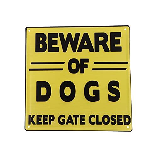 Happyyami Cuidado con El Signo de Perro Advertencia de Gran Resistencia Signos de Perro Vintage Lata Metal Signos Perro Precaución Tablero Colgante para Interior Exterior Jardín Puerta