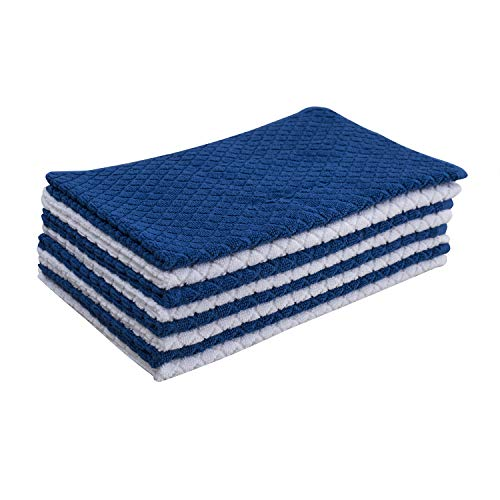 Nirisha Cotton Terry Kitchen Towel- 15 x 25 Inches - 400 GSM - 100% Ringspun 2 Ply Cotton - Diamond Weave - Soft & High Absorbent (Kitchen Towels - 8 Pack (15 X 25 Inches), Royal Blue & White)