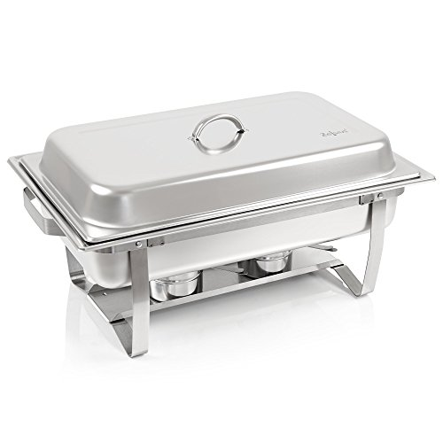 Zelsius Chafing Dish | Edelstahl Warmhaltebehälter | Speisenwärmer | Wärmebehälter | Rechaud für Catering, Buffet und Party (Nizza (2X 1/2 GN-Behälter))