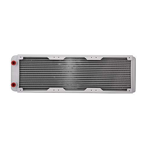 SNOWINSPRING Radiador de Aluminio de 360Mm, Disipador de Calor Blanco Equipo de Enfriamiento del Intercambiador de Calor LíQuido de RefrigeracióN por Agua para Computadora