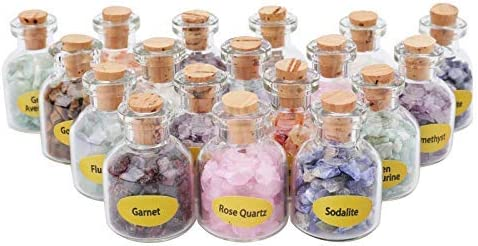 Suwimut 18 Pieces Mini Over item handling Gemstone Mesa Mall Bottles Hea Chip Crystal Stones