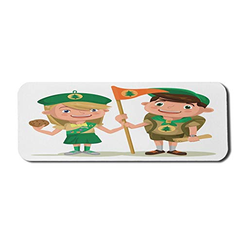Cartoon Computer Mouse Pad, Pfadfinder mit Flagge Karte und Cookies Cartoon-Stil im Freien Aktivitätsthema, Rechteck rutschfeste Gummi Mousepad große mehrfarbig