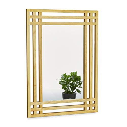 Relaxdays 10020483 - Espejo, madera de pino, 70 x 50 x 2 cm