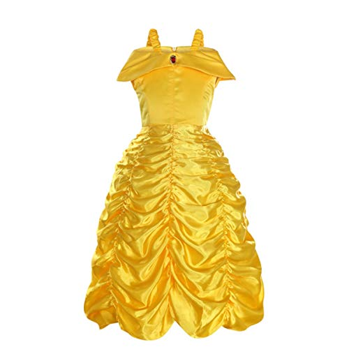 Mallalah - Disfraz de princesa para nia, diseo de unicornio o amarillo y rosa Belle - Jaune 120