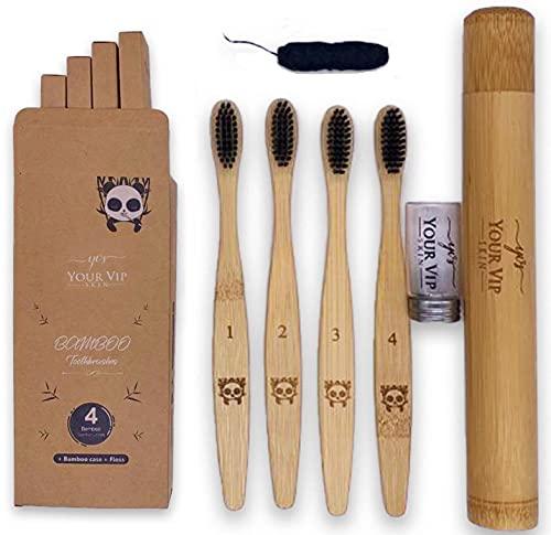 YOUR VIP SKIN - 4 Cepillos de Dientes de Bambú + estuche de bambu viaje + seda dental charcoal - Cepillos de dientes carbón naturales y ecológicos sin BPA, suaves y biodegradable
