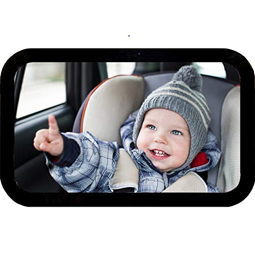 Baby Mirror for car Best Backseat Large Rear Facing Shatterproof Adjustable Infant Car Seat Mirror Crystal Clear View Crash Tested - Baby Registry a Must -100% Guarantee