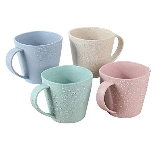 YARNOW 4 Unidades de Tazas de Paja de Trigo Ecológico Reutilizables Tazas de Agua Irrompibles Tazas de Cepillo de Dientes Portátiles Tazas Biodegradables para Lavavajillas Seguro de