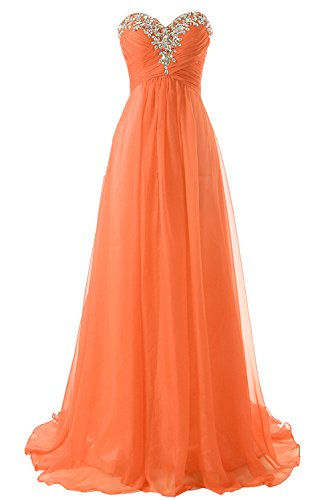 JAEDEN Prom Dress Bridesmaid Dresses Long Prom Gown Chiffon Formal Evening Gowns A line Evening Dress Orange US18W