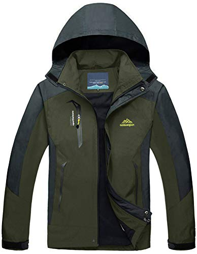 Outdoorjacke Herren Wasserdicht Atmungsaktiv Winddicht Regenjacke Warme Angeln Jagd Winter Parka Jungen Camping Hiking Fleece Fishing Jagdjacke Ski Hooded Mens Berg Soft Shell Armeegrün Army Green