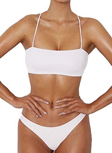 CORAFRITZ Bikini de cintura alta para mujer, 2 piezas, traje de baño de cintura baja