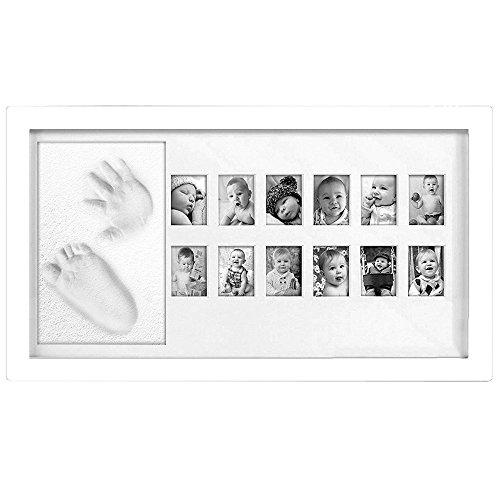 Chuckle - Mi Primer año - Marco de Fotos para Recuerdos e imágenes de bebé y niño - Imagen con Arcilla para el pie y la Huella de la Mano. - Fotografías