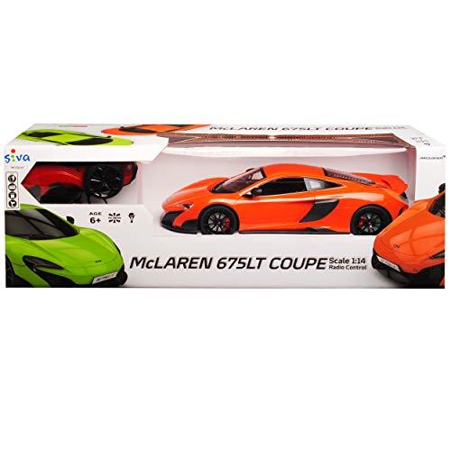 Siva McLaren 675LT Coupe Orange 2,4 GHz RC Funkauto mit Beleuchtung und Akkupack 1/14 Modell Auto mit individiuellem Wunschkennzeichen