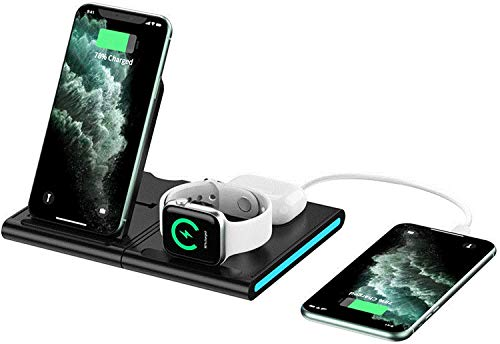 OH Cargador Inalámbrico de 15W 4 en 1 Soporte de Carga Inalámbrica para Iwatch, Airpods, Iphone 12/11/11 Pro Max/Xs Max/Xs/Xr/X / 8 Disipación de calor rápido