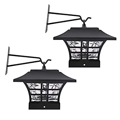 HECARIM Hanging Solar Lantern Lights, Outdoor Decorative LED Solar Powered Garden Lantern for Patio Landscape Yard with Wall Mount Kit, 2 Pack...